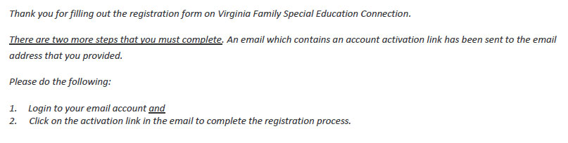 Screenshot of VA Family Registration Confirmation Page