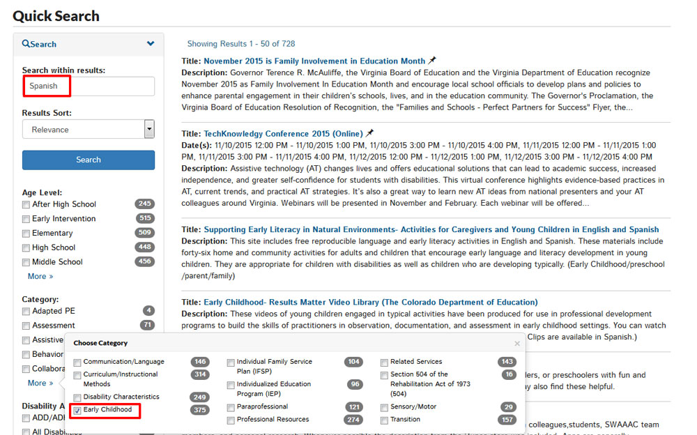 Screenshot of VA Family Search Section