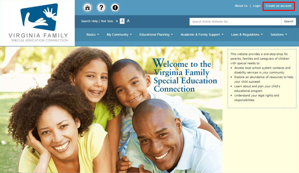 Screenshot of VA Family Home Page